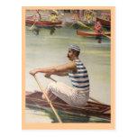 Vintage rower poster postcard