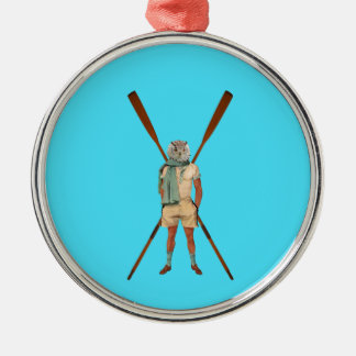 Vintage rowing gifts metal ornament