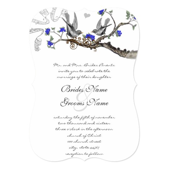 Vintage Royal Blue and Gray Wedding Invitations