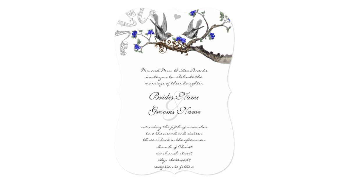 vintage royal blue and gray wedding invitations zazzle. Black Bedroom Furniture Sets. Home Design Ideas