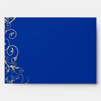 Vintage Royal Blue Gold Swirl Wedding Envelope