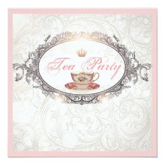 "Vintage Royal Bridal Shower Tea Party Invitation 5.25"" Square Invitation Card"
