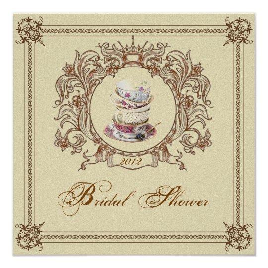 Vintage Royal Bridal Shower Tea Party Invitation