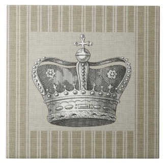 Vintage Royal Crown Decorative Beige Stripes Large Square Tile