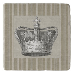 Vintage Royal Crown Decorative Beige Stripes Trivet