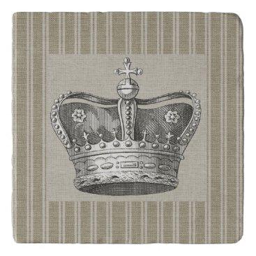 LarkDesigns Vintage Royal Crown Decorative Beige Stripes Trivet