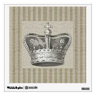 Vintage Royal Crown Decorative Beige Stripes Wall Decal