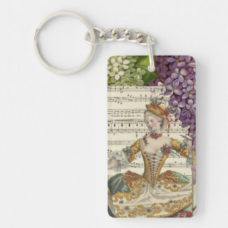 Vintage Royal French Fashion and Lilacs Keychain