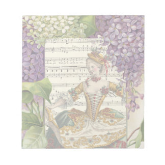 Vintage Royal French Fashion and Lilacs Notepad