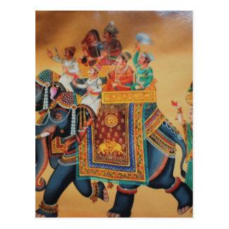 VINTAGE ROYAL INDIAN WEDDING PROCESSION  ELEPHANT POSTCARD