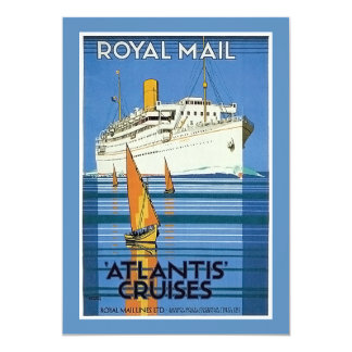 "Vintage Royal Mail :Atlantis Cruises"" 5x7 Paper Invitation Card"