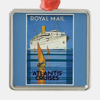 """Vintage Royal Mail: La Atlántida cruza """" Adorno Navideño Cuadrado De Metal"""