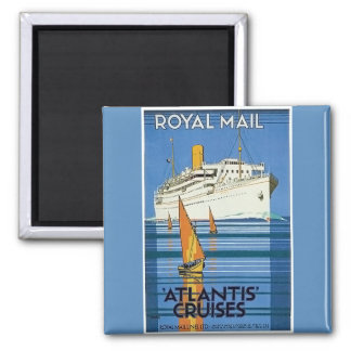 """Vintage Royal Mail: La Atlántida cruza """" Imán Cuadrado"""