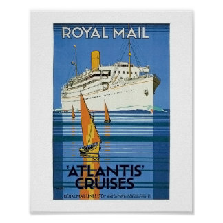 "Vintage Royal Mail: La Atlántida cruza "" Póster"