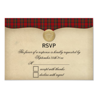 Vintage Royal Stewart Tartan Plaid Wedding RSVP Card