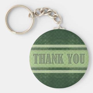 Vintage Royal Stripes Green Thank You Keychain