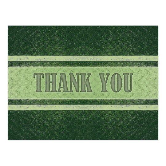 Vintage Royal Stripes Green Thank You Postcard