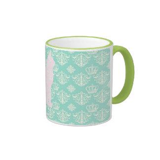 Vintage Royal Teal White Damask Cat Design Pattern Mug