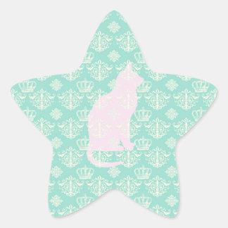 Vintage Royal Teal White Damask Cat Design Pattern Star Sticker