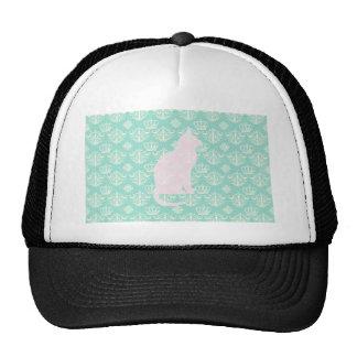 Vintage Royal Teal White Damask Cat Design Pattern Trucker Hat