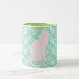 Vintage Royal Teal White Damask Cat Design Pattern Two-Tone Coffee Mug