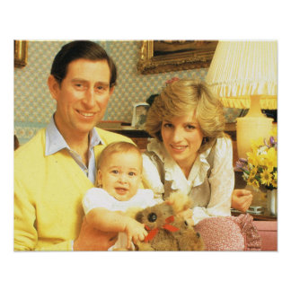 Vintage Royalty, Prince Charles, Diana, William Poster