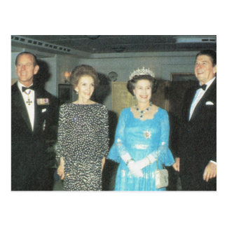 Vintage Royalty, Queen, Philip and the Reagans Postcard