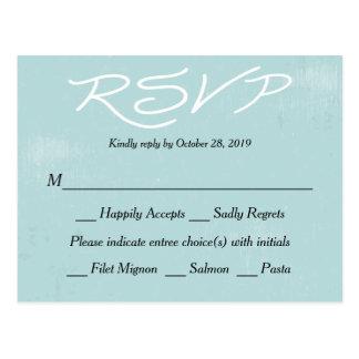 Vintage RSVP Blue Grunge Wedding / Party Postcard