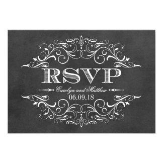 Vintage RSVP Postcards Chalkboar Flourish Personalized Invites