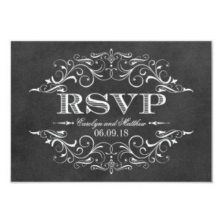 Vintage RSVP Postcards | Chalkboar Flourish Personalized Invites