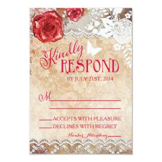 Vintage RSVP que se casa color de rosa elegante Invitación 8,9 X 12,7 Cm
