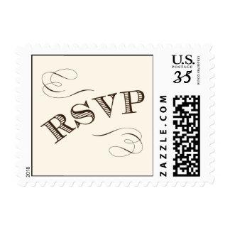 Vintage RSVP stamp with swirls