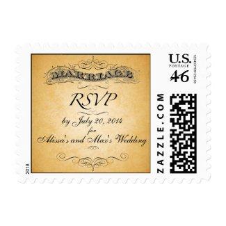 Vintage RSVP Wedding Postage stamp