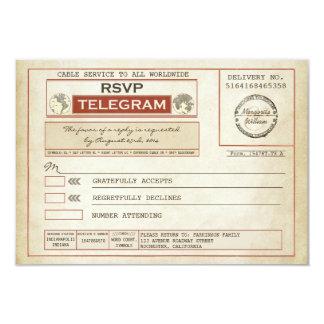 vintage RSVP WEDDING telegrams 3.5x5 Paper Invitation Card