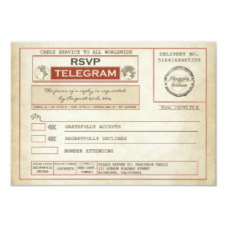 Vintage RSVP WEDDING Telegrams Card