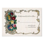 """Vintage RSVP with frame and roses 5"""" X 7"""" Invitation Card"""