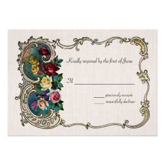 Vintage RSVP with frame and roses Invites