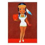 Vintage Rtrro Kitsch Apple Pin Up Indian Princess Card