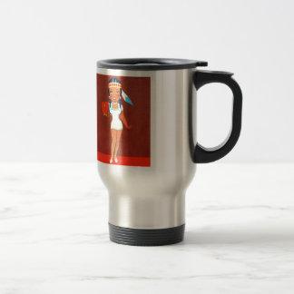 Vintage Rtrro Kitsch Apple Pin Up Indian Princess Travel Mug