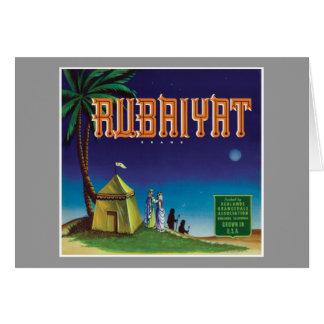 Vintage Rubaiyat Orange Label Card