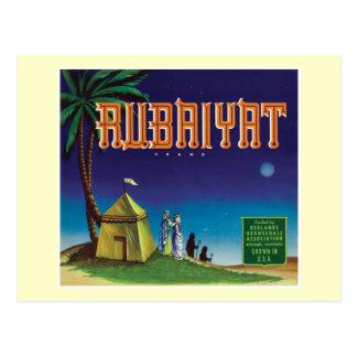 Vintage Rubaiyat Orange Label Postcard