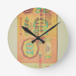 Vintage Ruble banknote from USSR CCCP Russia Clock