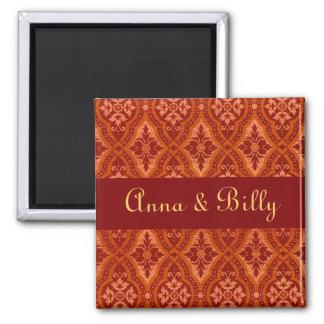 Vintage Ruby Red Damask Designer 2 Inch Square Magnet