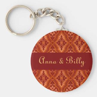 Vintage Ruby Red Damask Designer Basic Round Button Keychain