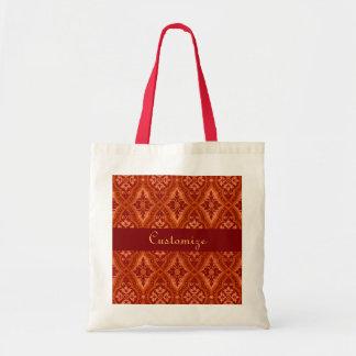 Vintage Ruby Red Damask Designer Budget Tote Bag