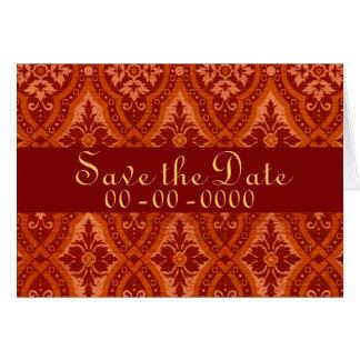 Vintage Ruby Red Damask Designer Greeting Card