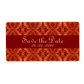 Vintage Ruby Red Damask Designer Label Shipping Label