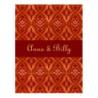 Vintage Ruby Red Damask Designer Postcard