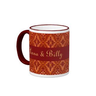 Vintage Ruby Red Damask Designer Ringer Coffee Mug