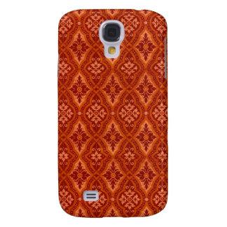 Vintage Ruby Red Damask Designer Samsung Galaxy S4 Cases